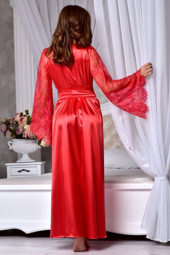 Red sexy long robe with lace sleeves Wedding kimono robe Long  ca4a4f2a0