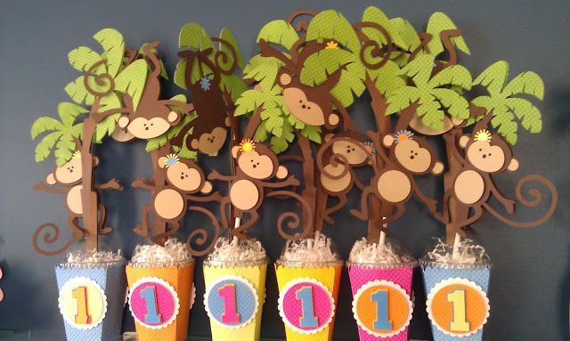 Funny Monkey Centerpieces for a 1st Birthday Party made with My Scrap Chick files.  Just hangin' around!!