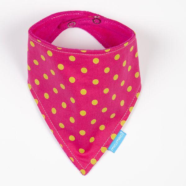 Babero bandana rosa topos amarillos