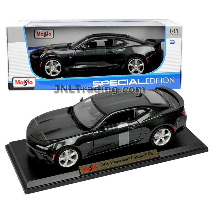 Maisto Special Edition Series 1:18 Scale Die Cast Car Set - Black Color Sports Coupe 2016 CHEVROLET CAMARO SS with Display Base
