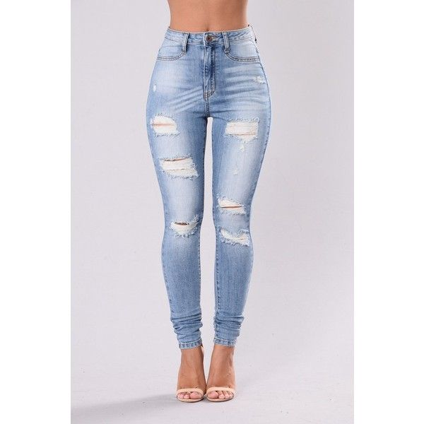 No Need To Pretend Jeans Light Blue ($40) ❤ liked on Polyvore featuring jeans, destructed jeans, high waisted ripped jeans, torn jeans, distressed jeans and high rise jeans