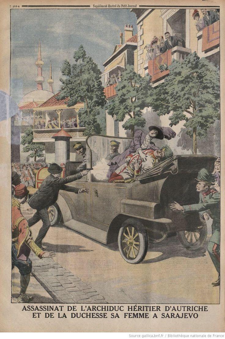 Assassinat de l'archiduc héritier d'Autriche François-Ferdinand et de la duchesse le 28 juin 1914 à Sarajevo.