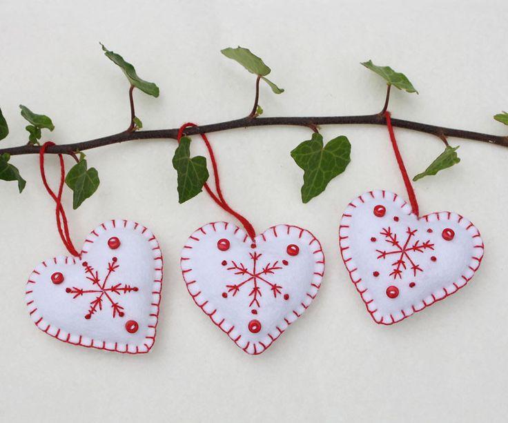 Felt Christmas ornaments, Snowflake hearts, Red and white felt ornaments.
