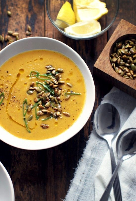 sweet potato soup for fall // We love potato soup, but this is beyond. Spicy, complex, and comforting: a cold-weather winner!