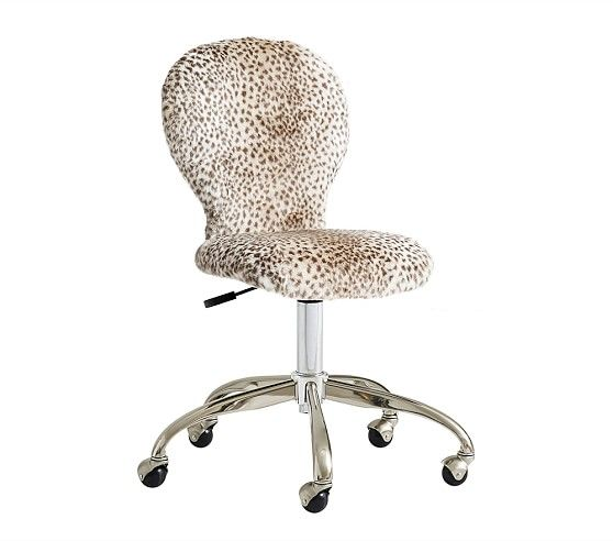 Round Upholstered Desk Chair Brushed Nickel Base