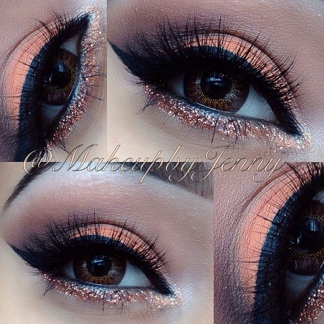 Pink glitter on bottom lash line, white under brow bone, browns blended into crease, pink eyeshadow on lid, winged liner and falsies.