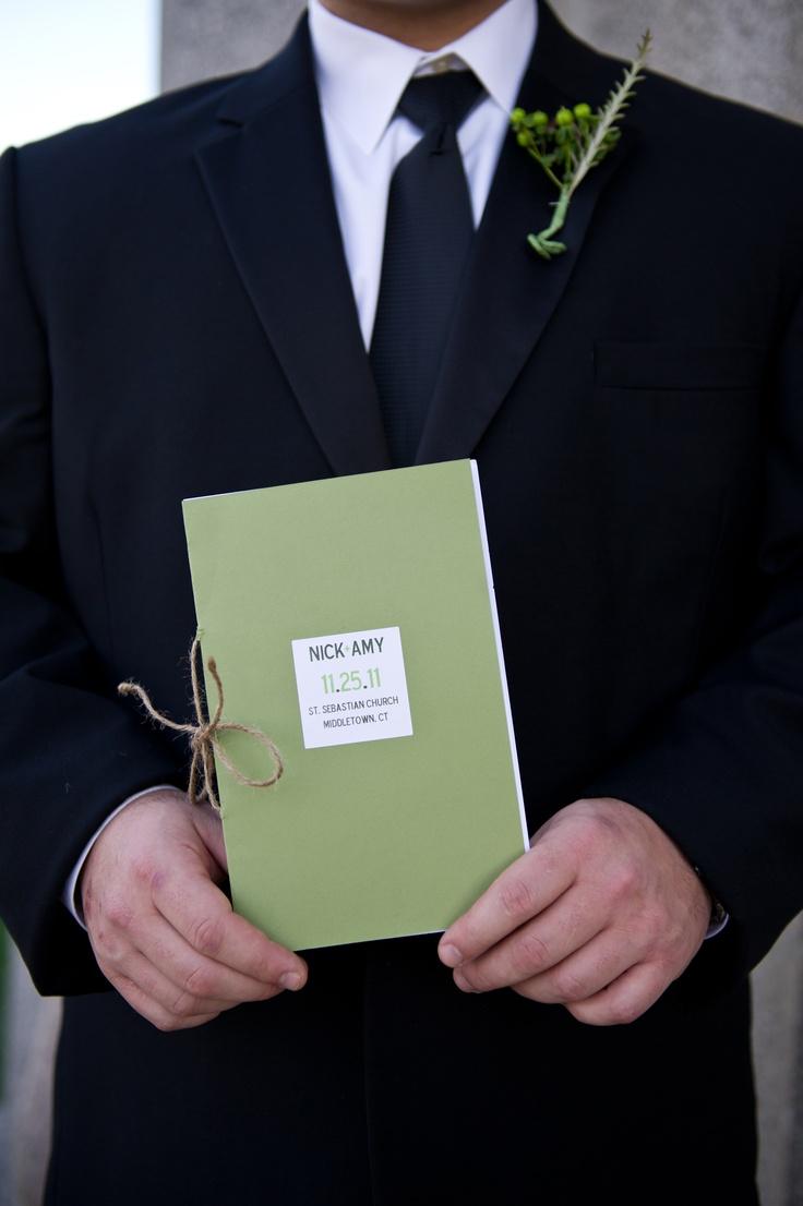Rustic Green boutonnieres    DIY Rustic Wedding Program    www.facebook.com/aclovesweddings  www.amychampagne.com
