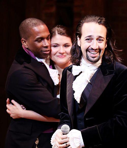 Lin-Manuel Miranda, Leslie Odom Jr. and Phillipa Soo, Hamilton Opening Night.