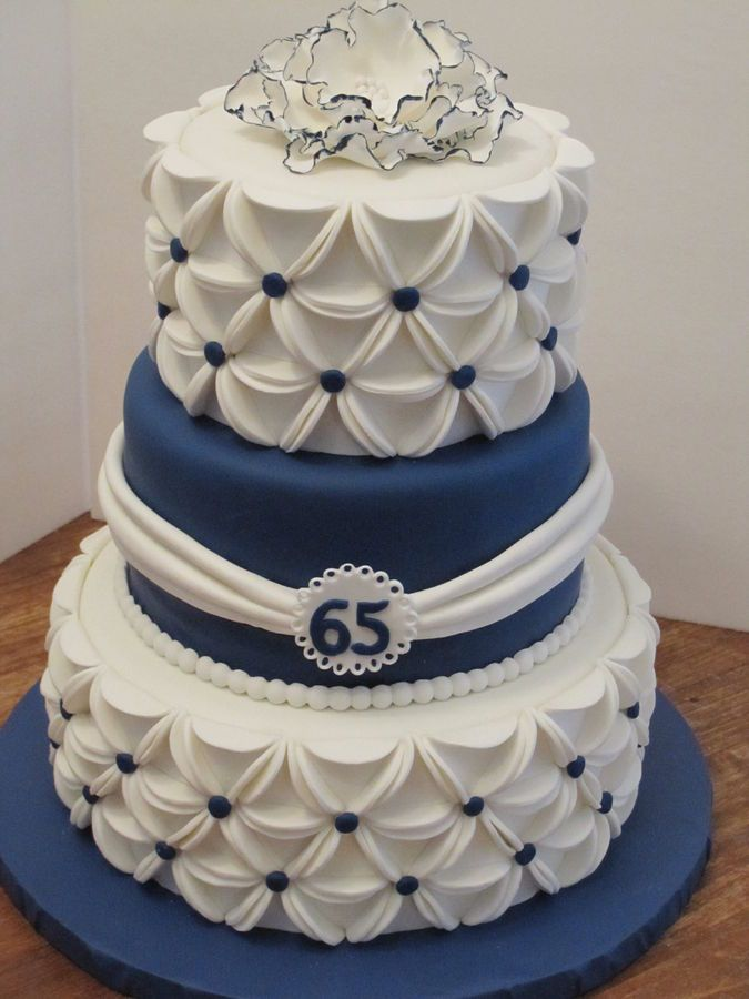 blue and white fondant covered cake