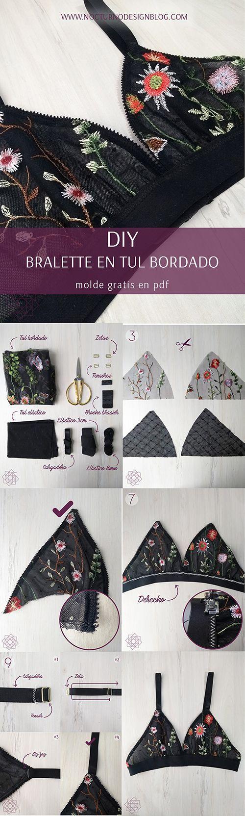 DIY: Bralette en tul bordado + molde gratis