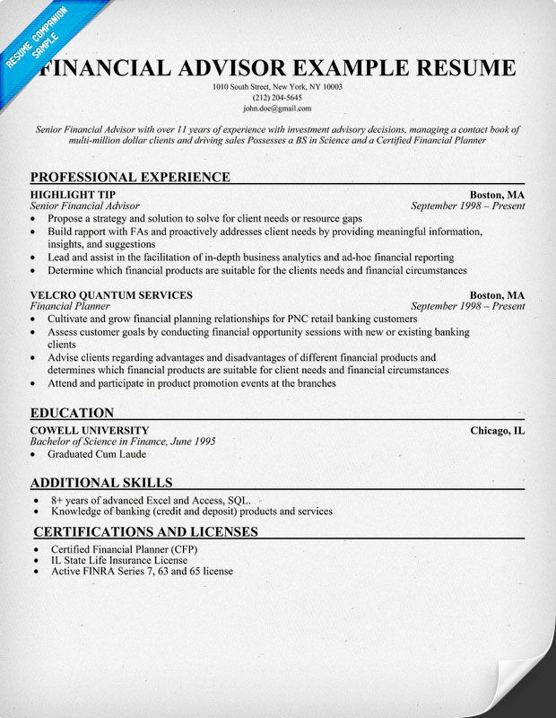 financial advisor resume