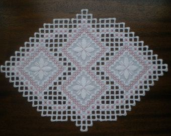 Handmade Hardanger Square Centerpiece White on White with light green Silk ribbon accents  Measures 10.5 inches X 10.5 inches  Nicely detailed and will compliment any decor you may have!  Different colors available ~ email me with request and I will be happy to customize for you    ~~Paypal accepted and order will ship within 2 days of cleared payment~~    Work comes from a smoke free/pet free home ~ pet lives outside :)     As always,     Thanks for Looking