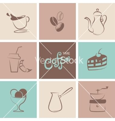 Coffee symbol collection vector by yulia_lavrova on VectorStock®