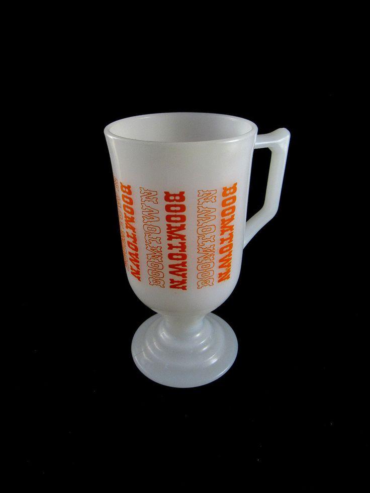 Boomtown Vintage Casino Hotel Orange White Irish Coffee Milk Glass