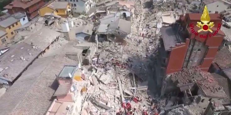 Amatrice, village d'Italie détruit par le séisme, filmé par un drone