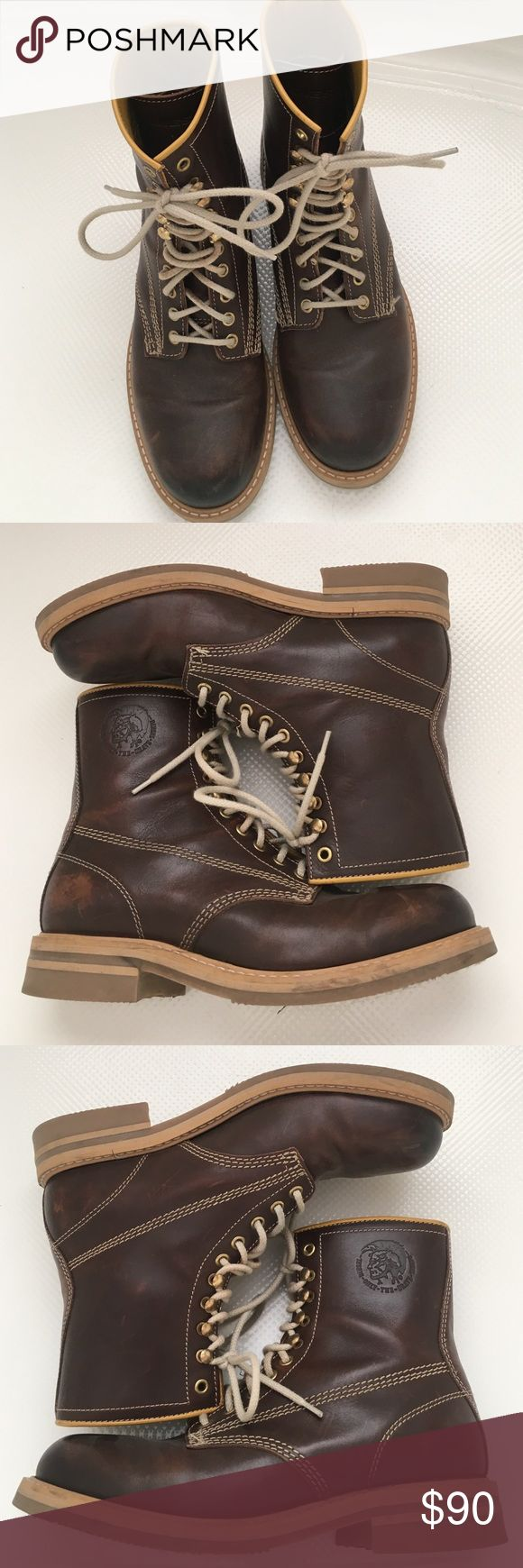 Mens Diesel Boots. Brown w/ Tan trim. Size 9 Mens Diesel biker style boots. Lace up. Brown with Tan stitching, laces and sole. Inside of the right shoe will probably need to be glued down soon or resewn. Still in great shape Diesel Shoes Boots