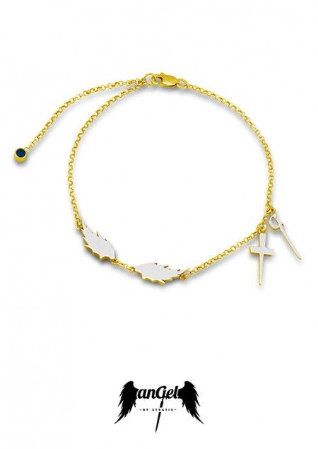 "Angel Bracelet, with Feathers, the monogram ""G"" and a Cross. Gold Plated Silver, White Enamel, Sapphire 0.08 ct. Click to find more jewellery pins! #style #design #ideas #jewellery #angelbystratis #voyjewellery #trends #fashion #womens fashion #love #startisvoyiatzis #stratisvogiatzis"
