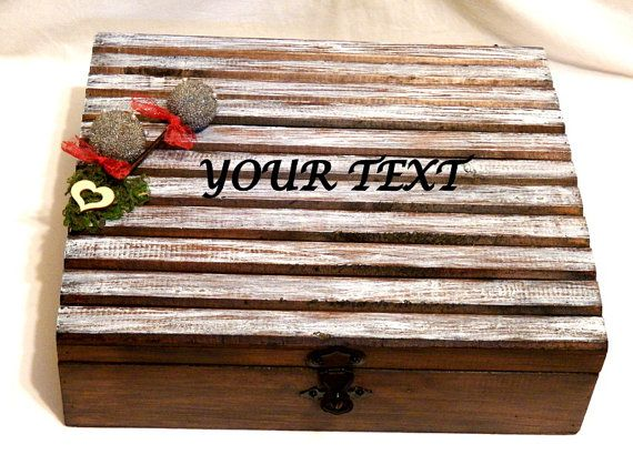 Personalized Chest Wooden Card Box Wedding Gift por Personalizedbox