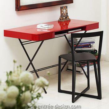 Bureau Cosimo rouge laqué Adentro, Console Design