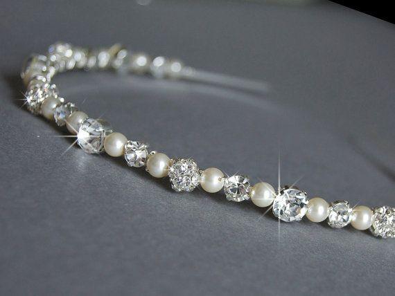 Wedding Headband - Swarovski Pearls and Rhinestone - Wedding Hair Accessories - Diamante Wedding Headbands