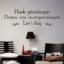 Wallsticker Husk - Drøm - Lev - NiceWall.dk