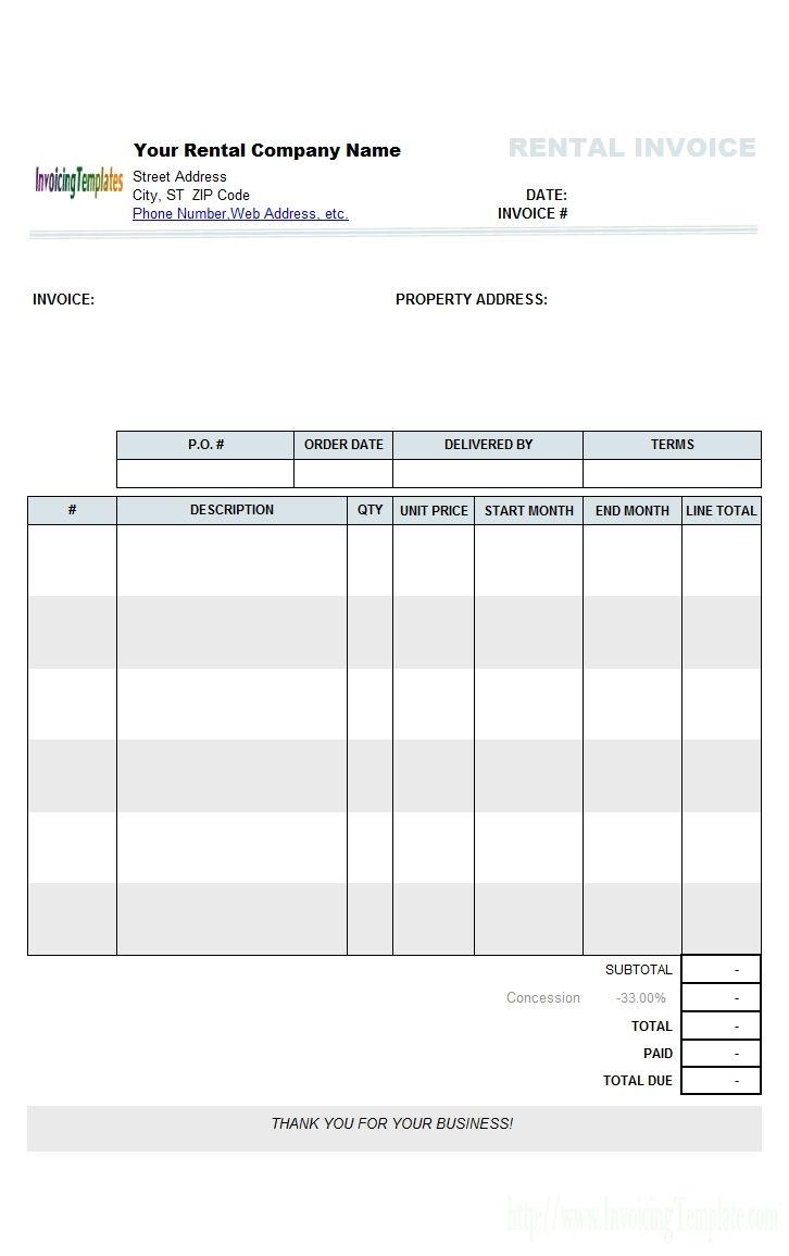 Rent Invoice Template Free Di 2021