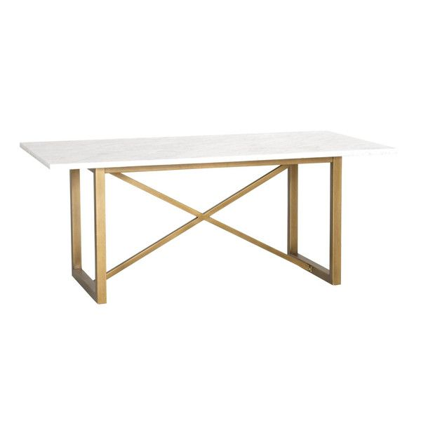 "Marble Veneer Top Brushed gold base X-Brace Base Design Dimensions: W:86.5"" D:39.5"" H:30.5"" Please allow 3-4 weeks"