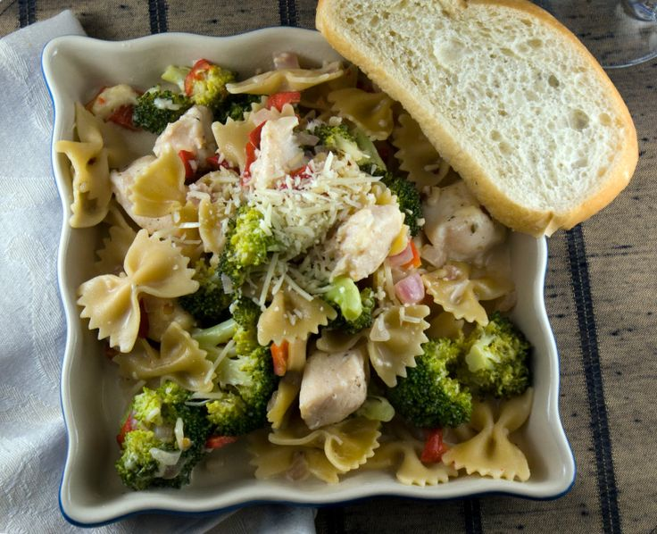 Broccoli chicken pasta  HeatOvenTo350.com