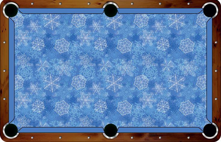 Pool Felt Guru - Vivid Snowflakes 7'/8' Custom Pool Table Felt - VVCF23, $500.00 (http://www.poolfeltguru.com/vivid-snowflakes-7-8-pool-table-felt-vvcf23/)