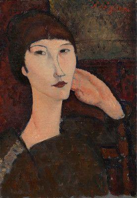 Modigliani, Amedeo Italian, 1884 - 1920 Adrienne (Woman with Bangs) 1917 oil on linen