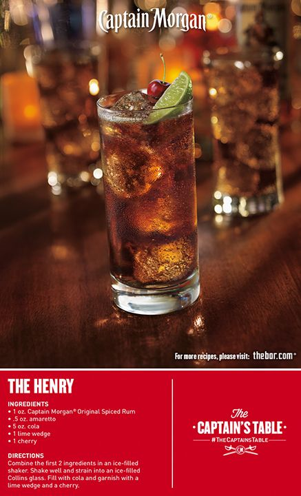 Your crew will love this fizzy, amaretto drink! For a super easy party #cocktail, treat your guests to a Captain Morgan The Henry