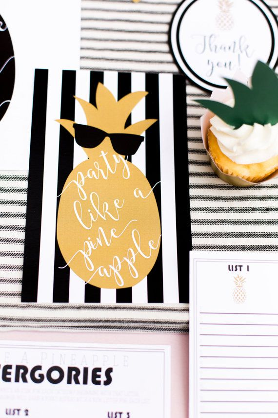 PARTY LIKE A PINEAPPLE! (Instant Download) Includes: Party Like a Pineapple Invitation-You can print and send or upload into Paperless