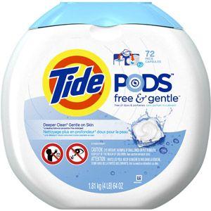 Tide PODS Free & Gentle HE Landry Detergent, 72 count