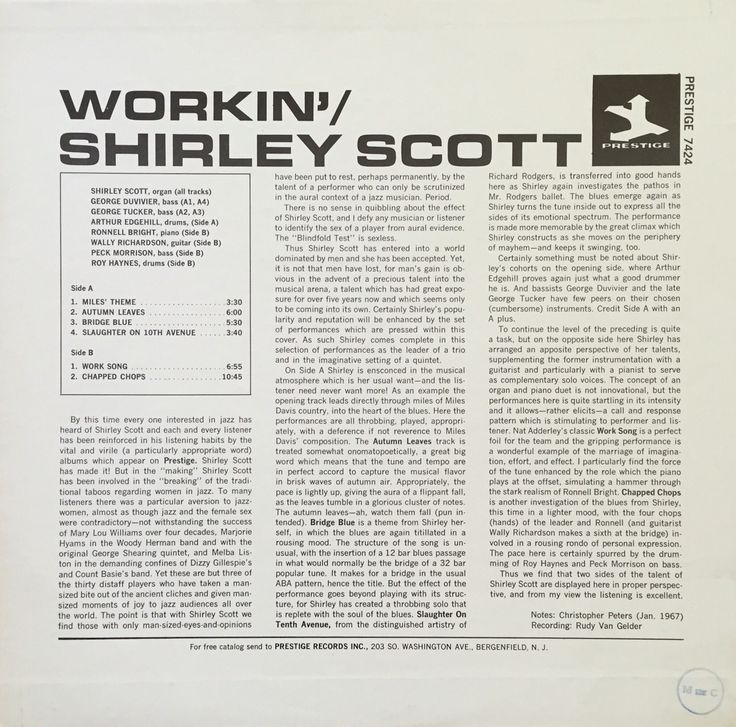 Prestige PR 7424 Shirley Scott