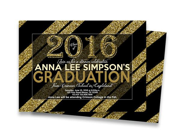 get the elegant black and faux gold glitter graduation invitations or graduation announcements youve been looking - Graduation Invitations Pinterest