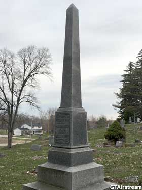Durand, Michigan: Circus Train Wreck Memorial - An obelisk in Lovejoy Cemetery memorializes the humans killed when two circus trains collided in 1903.