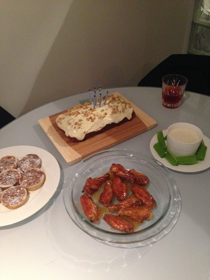 Carrot cake, caramel and hazelnut tarts, buffalo wings with blue cheese dipping sauce.