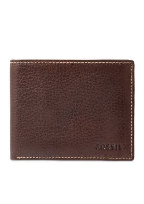 Fossil Brown Lincoln Leather Bifold With Flip ID Wallet