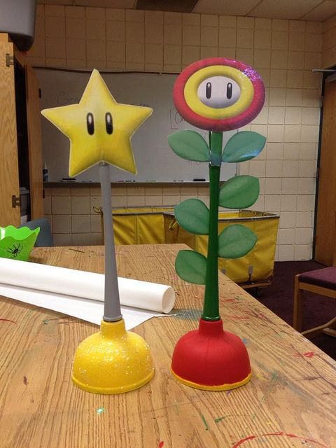 How 'bout trophies for a Mario Kart Tournament? These hand-made plunger trophies were made by Pitt-Greensburg CA, Eugene Olaiya