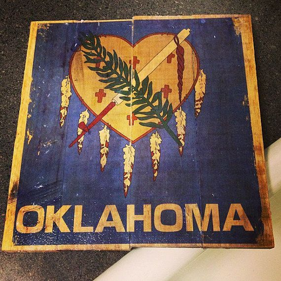 Oklahoma Flag heart pallet by PolishedPallets on Etsy, $50.00