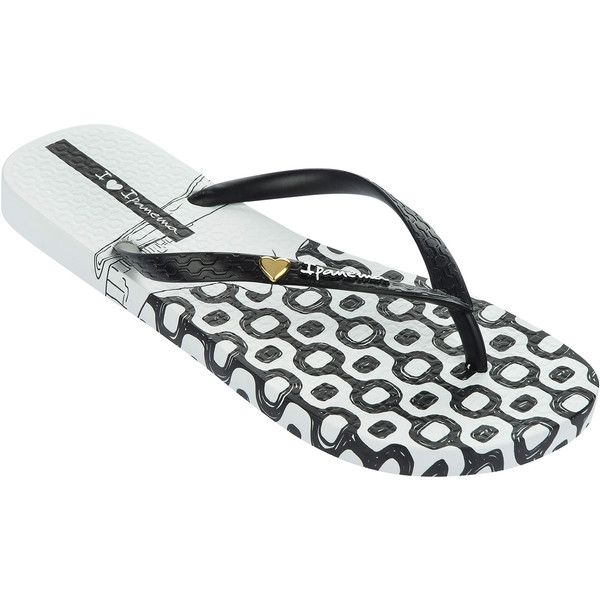 Ipanema Flip-flops - Ipanema Paraiso Fem White/black ($28) ❤ liked on Polyvore featuring shoes, sandals, flip flops, white, ipanema, white flip flops, black white sandals, black white shoes and white sandals