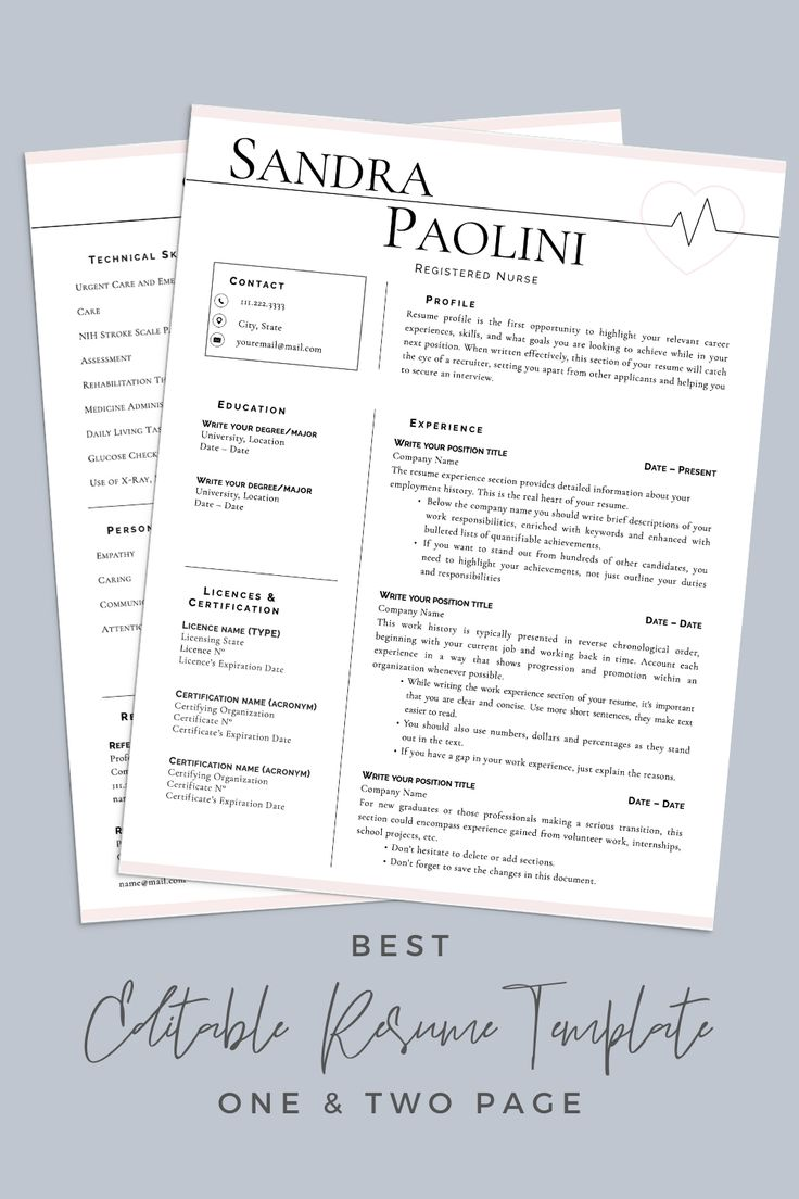 Nurse Resume Template, Registered Nurse Resume Template