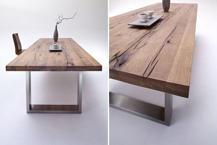 Esstisch aus massiv Eiche, Tisch mit einem Gestell aus Metall, Maße 220 x 100 cm - Tische - Massivholz Style - Möbel