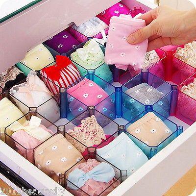 Superior Plastic Underwear Tie Bra Socks Storage Box Organizer Case Desk Drawer  Divider