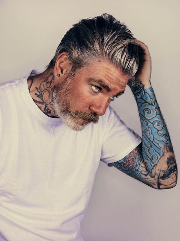 grey hair and beard and tattoos men pinterest beards tattoos and body art and freckles. Black Bedroom Furniture Sets. Home Design Ideas