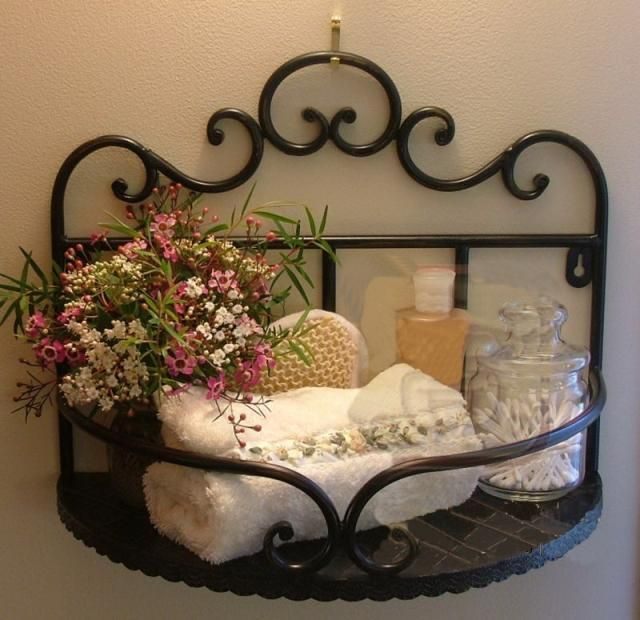 Wrought iron bathroom shelf
