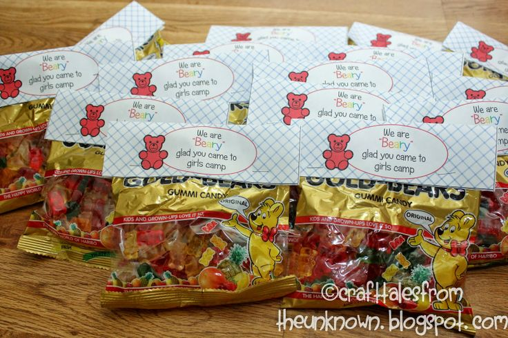Craft Tales from the Unknown-gummy bear pillow treat for girls camp