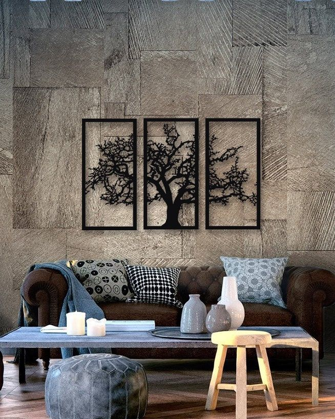 Tree Of Life 3 Pieces Metal Wall Art Modern Rustic Wall Etsy Metal Wall Art Living Room Black Metal Wall Art Wall Art Living Room