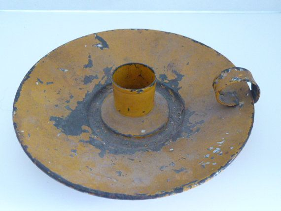 Candle Holder tin antique mustard yellow....