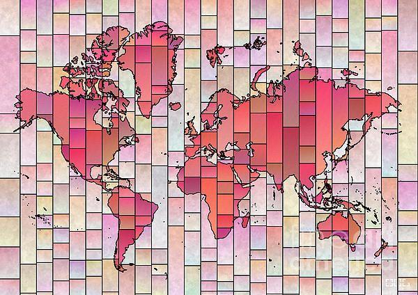 World Map Glasa Pink And Yellow. world map art wall decor print. #elevencorners #mapglasa